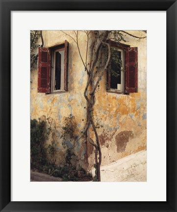 Framed Two Windows, Red Shutters Print