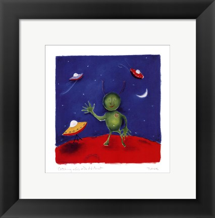 Framed Catching A Cab On The Red Planet Print