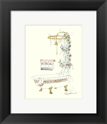 Framed Tubs With Curtains-Bathtime Opulence Print