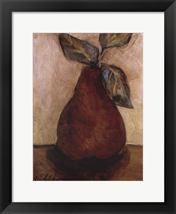 Framed Red Pear On Beige Print