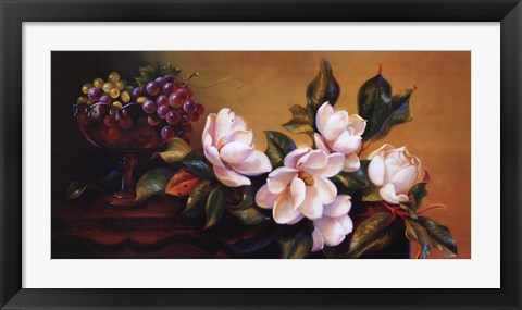 Framed Magnolia With Grapes Print