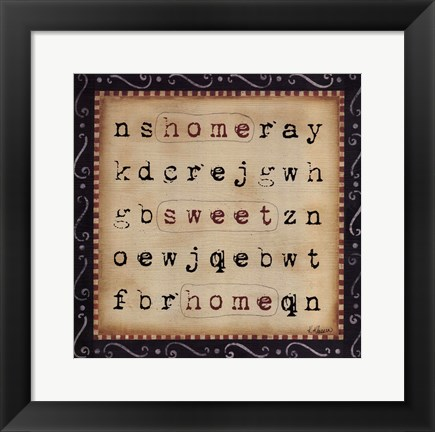 Framed Home Sweet Home Word Search Print