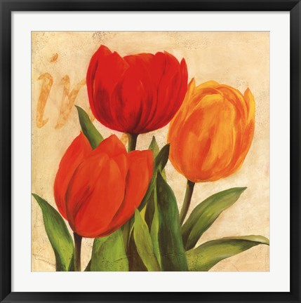 Framed Red, Orange, Yellow Tulips Print