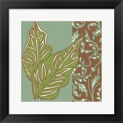 Framed Nouveau Leaves I Print
