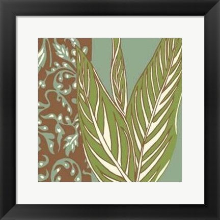 Framed Nouveau Leaves II Print