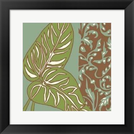 Framed Nouveau Leaves III Print