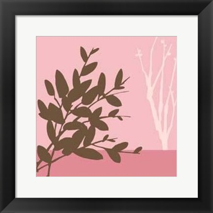 Framed Metro Leaves In Pink I Print