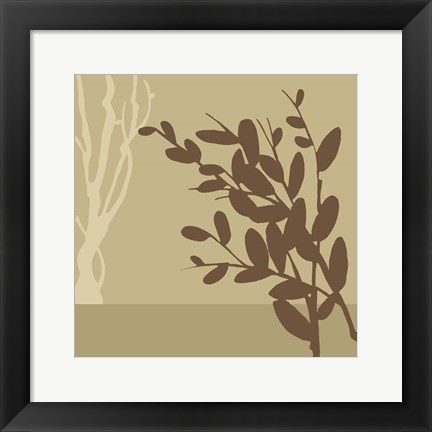 Framed Metro Leaves In Khaki II Print