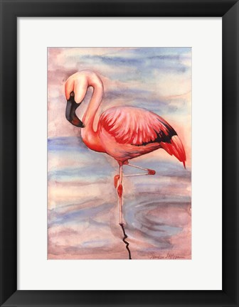 Framed Pink Flamingo II Print