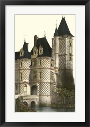 Framed French Chateaux In Blue II Print