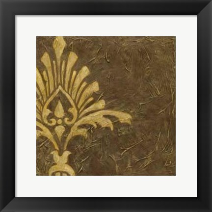 Framed Gold Damask I Print
