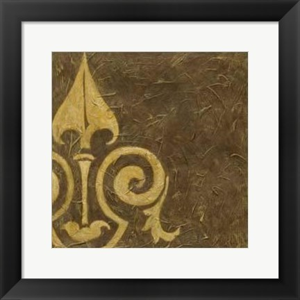 Framed Gold Damask III Print