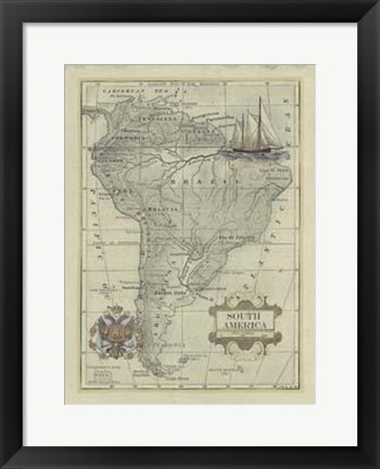 Framed Antique Map Of South America Print
