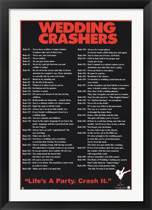 Framed Wedding Crashers 50 Rules - life's a party Print