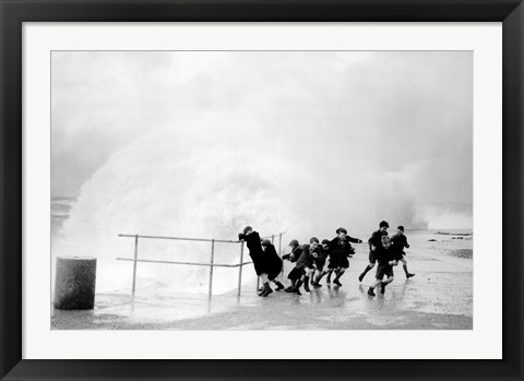 Framed British Kids-Wave Dodging Print