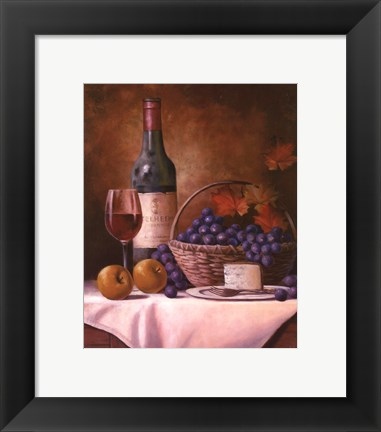 Framed Wine & Grape I Print