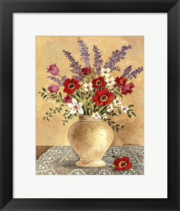 Framed Flowers On Lace 2 Print