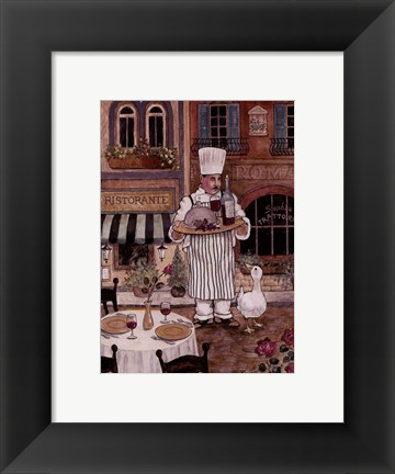 Framed Chef With Wine Print