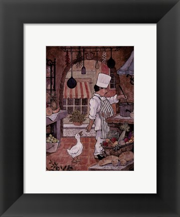 Framed Chef With Goose Print