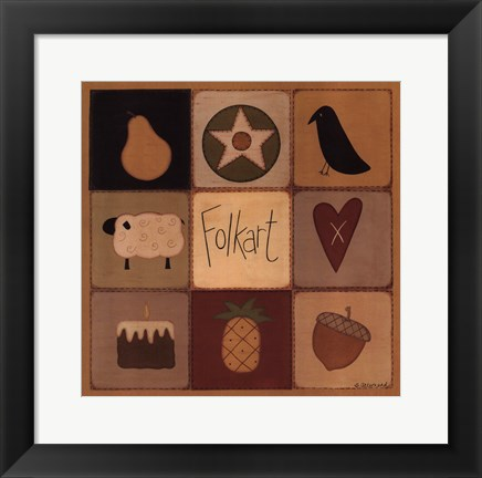 Framed Folk Art Patch Print