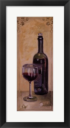 Framed Red Wine With Glass Print