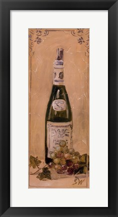 Framed White Wine With Grapes Print