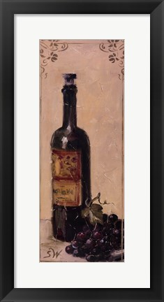 Framed Red Wine With Grapes Print