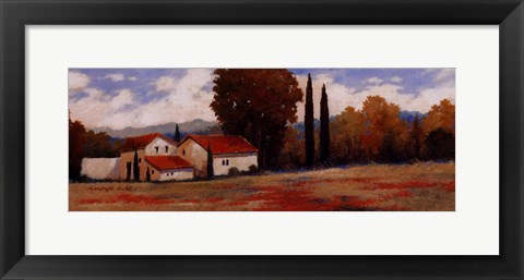 Framed Burgundy Farmhouse II Print