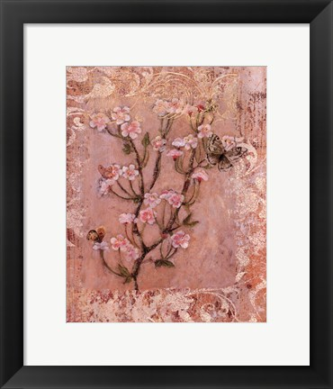 Framed Butterflies And Blossoms I Print