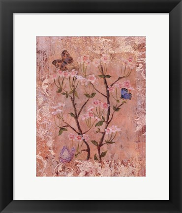 Framed Butterflies And Blossoms II Print