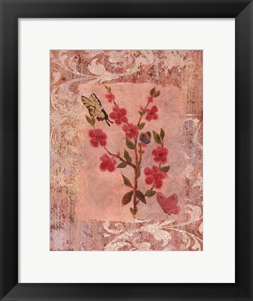 Framed Butterflies And Blossoms III Print