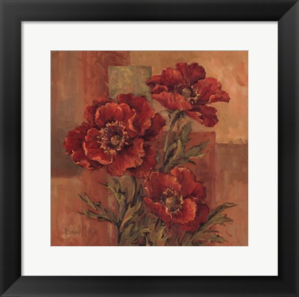 Framed Poppies Terra Cotta Print