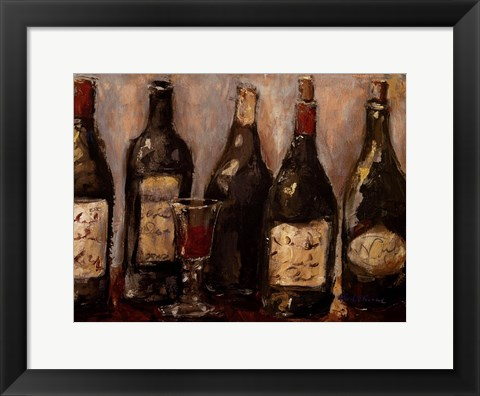 Framed Wine Bar With French Glass Print