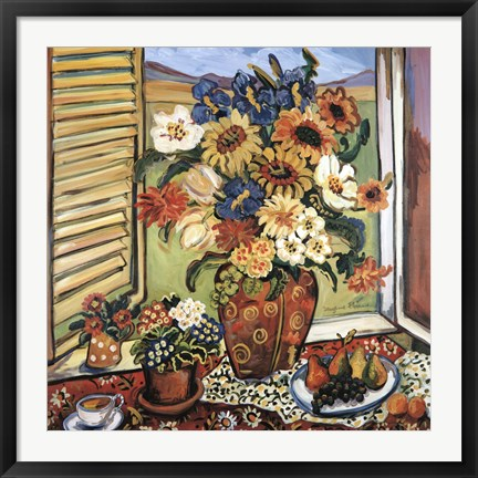 Framed Sunflowers At Window Print