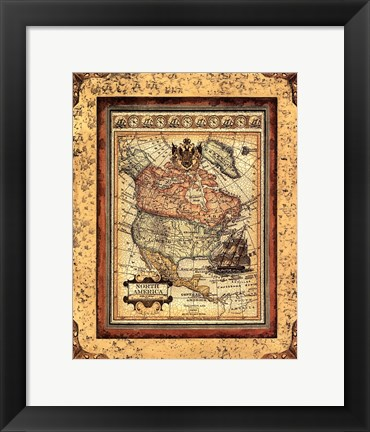 Framed Crackled Map Of North America Print