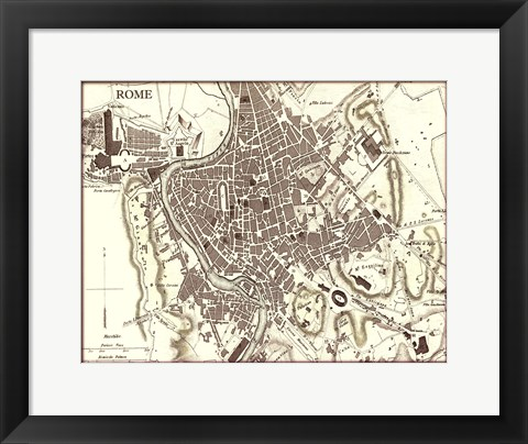 Framed Sepia Map Of Rome Print