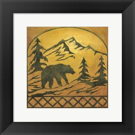 Framed Lodge Bear Silhouette Print
