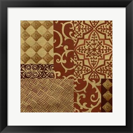 Framed Henna Patterns On Gold I Print