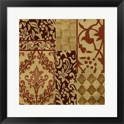 Framed Henna Patterns On Gold II Print