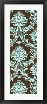 Framed Vivid Damask In Blue I Print