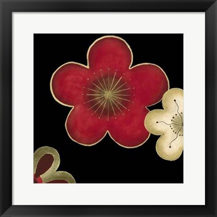 Framed Pop Blossoms In Red II Print