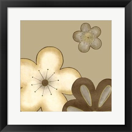 Framed Pop Blossoms In Neutral I Print