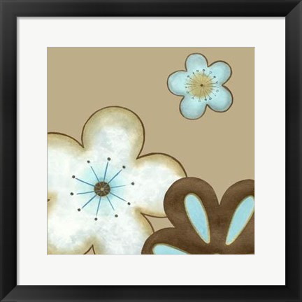 Framed Pop Blossoms In Blue I Print