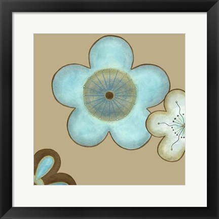Framed Pop Blossoms In Blue II Print