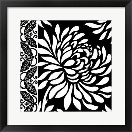 Framed Graphic Chrysanthemums II Print