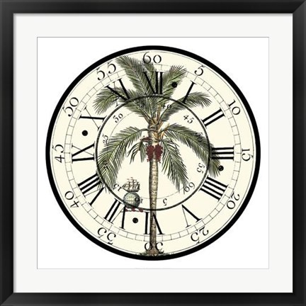 Framed Antique Palm Clock Print