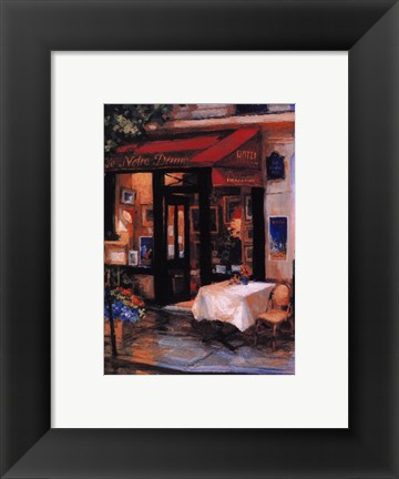 Framed Cafe At Sunrise, Paris Print