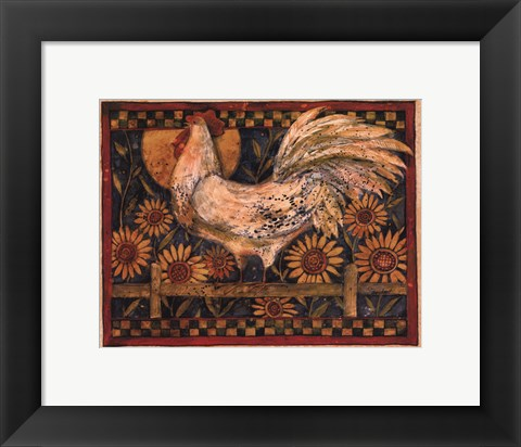 Framed Rooster With Sunflowers Print
