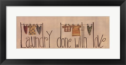 Framed Laundry Done With Love Print