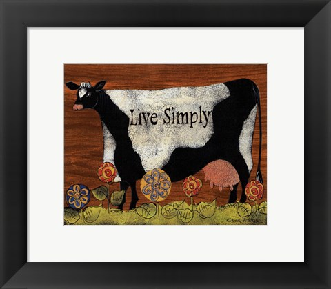 Framed Live Simply Cow Print